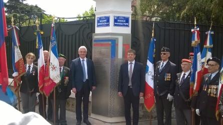 Son excellence l'ambassadeur de Russie en France Mr Orlov et S.E. Sergey Moltchanov consul général de Russie à Marseille lors de l'inauguration de la plaque en présence d'anciens combattants.